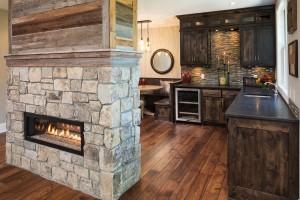 Engineered Hickory common grade, hand scrape, French bleed, custom color. Timberidge Builders, Woodbury, MN. 2014 Artisan Home Tour