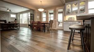 White Oak Rift and Quartered, #1 Common. Wire brushed, eased edge, custom color. Floors by Steve, Roseville, MN